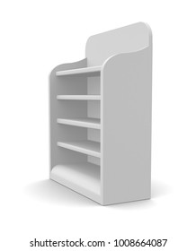 White Blank Empty POS POI Floor Display Showcase or Stand with Rack Shelves for Supermarket, Bank, Shop or Storefront Isolated On White Background. 3D illustration