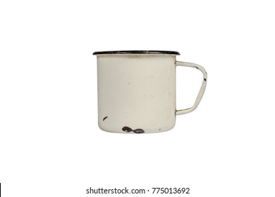 White blank enamel mug isolated on white background