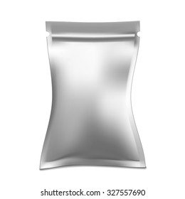 White blank foil food or drink bag packaging with hang slot blister. Plastic pack template ready for your design.
