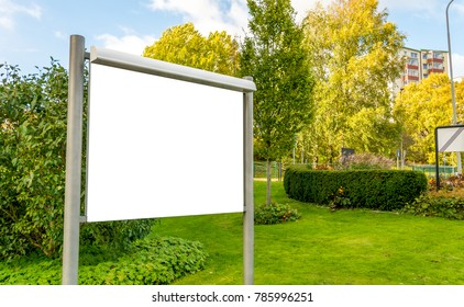 White Blank Isolated Template Message Billboard Frame Advertisements Residential Area