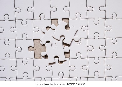 white blank jigsaw puzzle piece. Business concept for complete and teamwork.