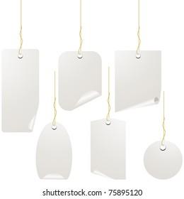 White blank label set isolated on white.