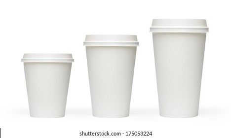 White blank, large, medium and small Takeaway paper, carton or cardboard coffee cups mockup different size isolated on white background packaging template mockup collection with clipping path.