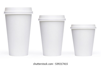 White blank, large, medium and small Takeaway paper, carton or cardboard coffee cup different size isolated on checkered background Packaging template mockup collection with clipping path.