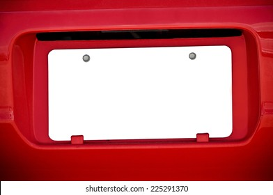 White Blank License Plate On Red Car