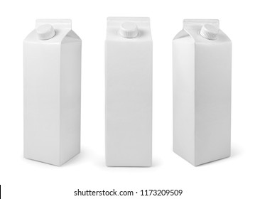 White Blank milk or juice package isolated on white with clipping path