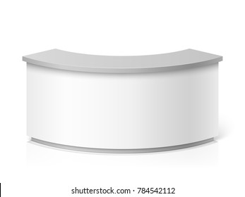 White blank modern reception. Round information desk or exhibition counter illustration. Counter for reception and helping service stand
