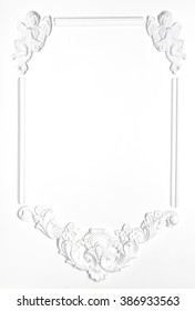 White Blank old frame of gypsum in the Renaissance style. Molding