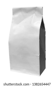 White blank paper bag or pack isolated on white background with clipping path