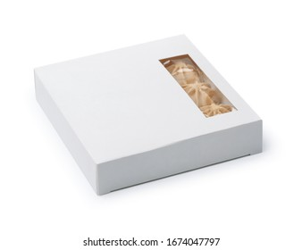 White blank paper candies box with window isolated on white