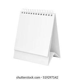 White blank paper desk spiral calendar.