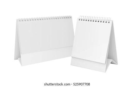 White blank paper desk spiral calendars.