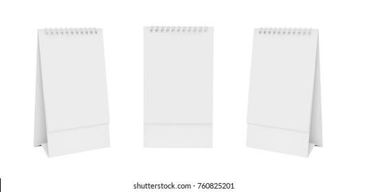 White blank paper desk spiral calendar on white background.