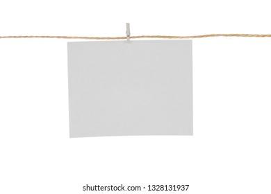 White blank photo card isolated on white background.