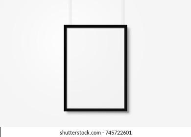 White blank photo frame mockup with ropes isolated over white background
