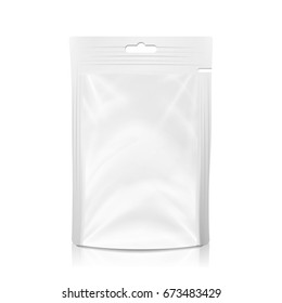 White Blank Plastic Pocket Bag. Realistic Mock Up Template Of Plastic Foil Food Or Drink Doypack Bag. Clean Hang Slot. Packing Design Template. Isolated