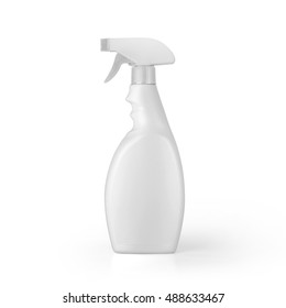 White blank plastic spray detergent bottle isolated on white background. Packaging template mockup collection. With clipping Path included.