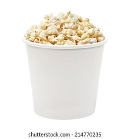 White blank popcorn box for placing custom graphics on white background