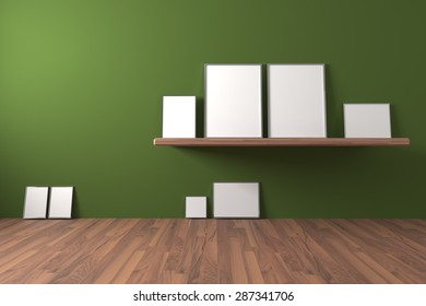 White blank poster on shelve and drop to the ground in an empty room is painted green with decorate wood floor. ,The concept can Image taken place to present their work freely.
