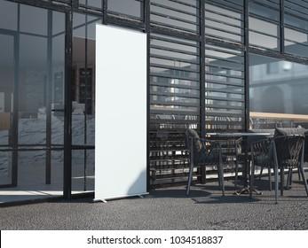 White blank rollup banner near modern restaurant. 3d rendering