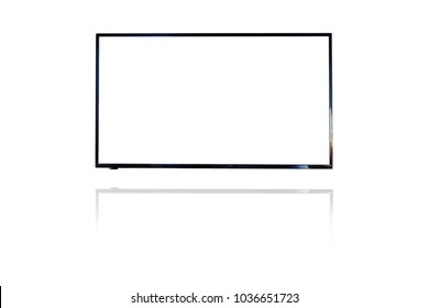 white blank screen television on isolated white background. copy space for text on TV. view from frontTelevision