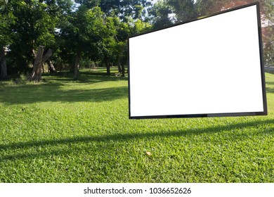 white blank screen for text Television at natural garden. mock up screen.