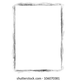 White blank template paper sheet for presentation corporate identity. Grayscale color isolated on white background. Abstract aquarelle texture created in handmade technique.