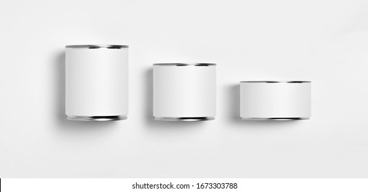 White blank Tin Cans set.Canned Food. Ready for your design. Real product packing.Food Tin Can with Blank White Label.Top view.