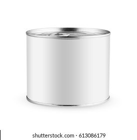 White blank tincan silver metal Tin Can with key, canned Food. Isolated with clipping path. Ready for your design. Real product packing. Mockup.