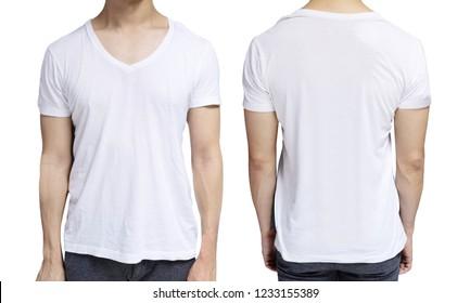 White blank v-neck t-shirt on human body for graphic design mock up