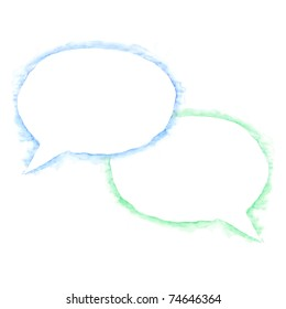 White blank watercolor speech bubble dialog shape with blue and green shadow on white background