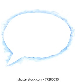White blank watercolor speech bubble dialog shape with drop blue shadow on white background