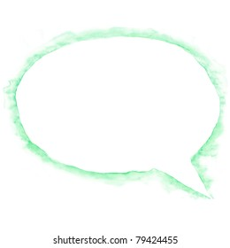 White blank watercolor speech bubble dialog shape with drop green shadow on white background