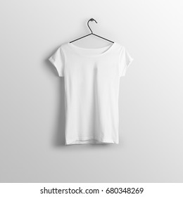 White blank wide neck t-shirt mockup on hanger, hanging against empty wall background.