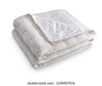 White blanket made of velor fabric, neatly folded, isolated on white background
