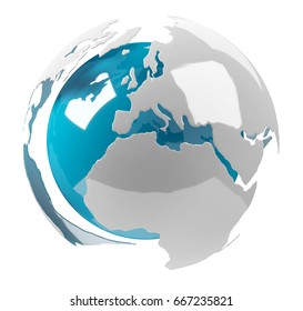 White and blue 3D rendering earth on white background