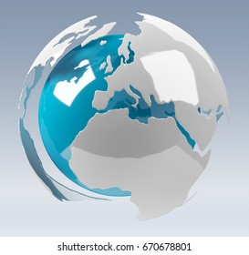 White and blue 3D rendering earth on grey background