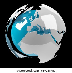 White and blue 3D rendering earth on black background