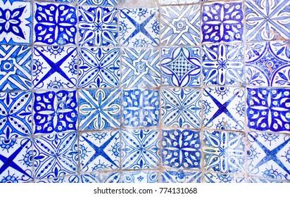White Blue Azulejo Moroccan Tile Background