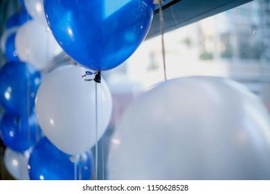 White and blue balloon