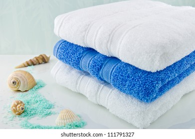 White and Blue bath towels