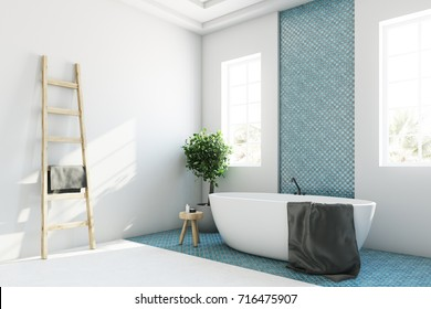 White and blue bathroom interior with a round white tub, two narrow windows, a tree in a pot and a ladder in a corner. Corner. 3d rendering mock up