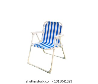 White and blue chair isolated on white background.