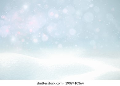 WHITE BLUE CHRISTMAS WINTER BACKGROUND, SNOW AND BOKEH  BACKDROP WITH GLITTER AND TWINLY LIGHTS