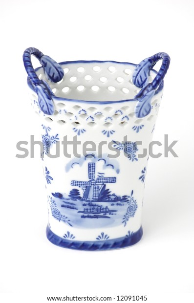 White and blue decorative pen holder / container made in tarditional Dutch style