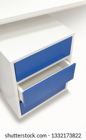 white and blue drawer worktable