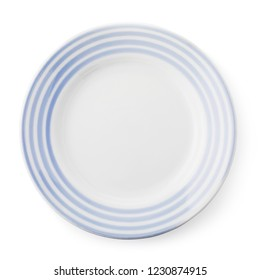 White and blue empty ceramic plate, top view of an isolated object