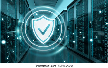 White and blue firewall activated on server room data center 3D rendering