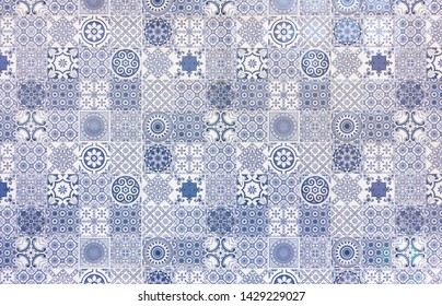 White and blue geometric  tile wall texture or background