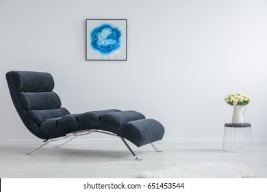 White And Blue Minimalistic Interior With Modern Furnitures